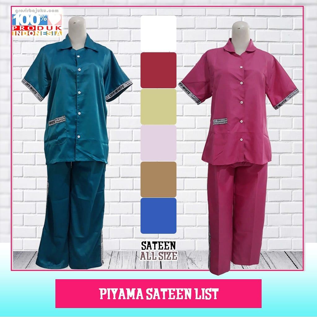 Piyama Sateen List Dewasa